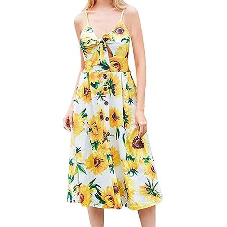 KaloryWee Vestidos de Verano para Mujer con Corbata Frontal en V y ...