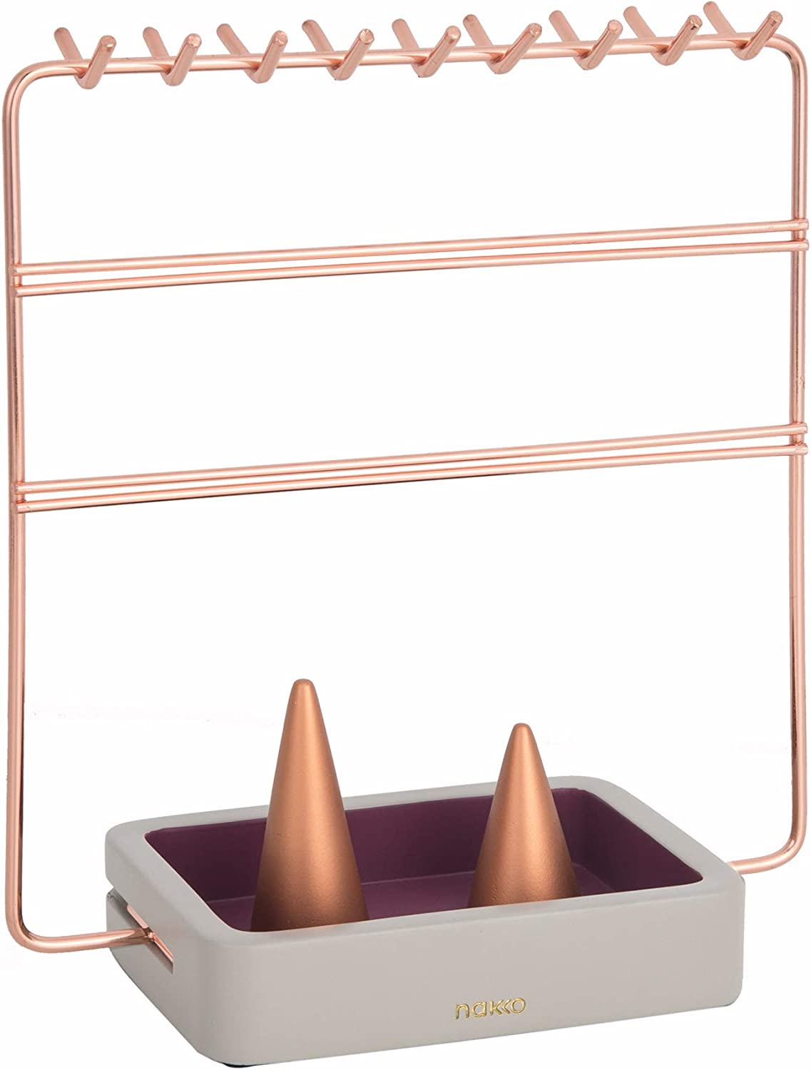 Amazon Com Nakko Modern Jewelry Organizer Gold Metal 3 Tier Necklace And Earring Display Rack With Ring Holder Rose Gold Gray Home Kitchen