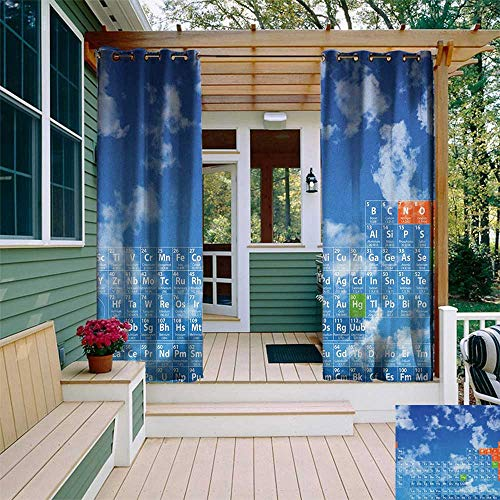 leinuoyi Science, Outdoor Curtain Extra Wide, Clear Open Sky with Clouds and Chemistry Table for Kids Smart Student Print, Fabric by The Yard W120 x L108 Inch Blue and White