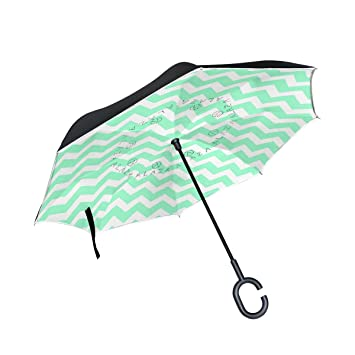 coosun Seafoam Green Chevron doble capa invertido paraguas Reverse Umbrella para Auto y Exterior de uso