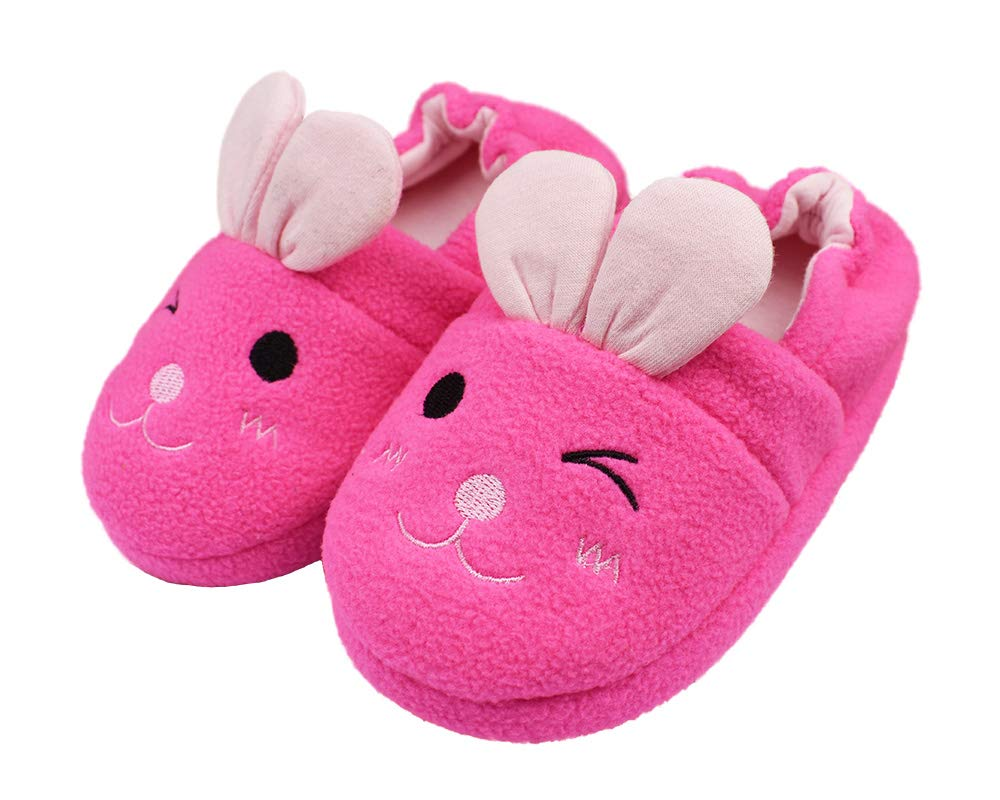 Little Kids Girls Warm Plush Slippers Cute Anti-Slip Hard Sole Size 12-13 US Rabbit
