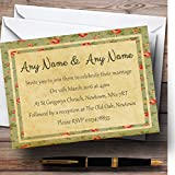 Vintage Shabby Chic Floral Postcard Style Personalized Evening Reception Invi...