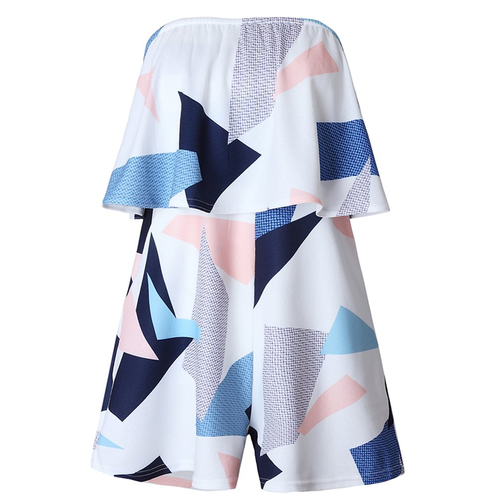 Zdorzi Off Shoulder Playsuit Sexy Floral Printed Playsuit One Piece Summer Strapless Romper Beach Short Jumpsuit