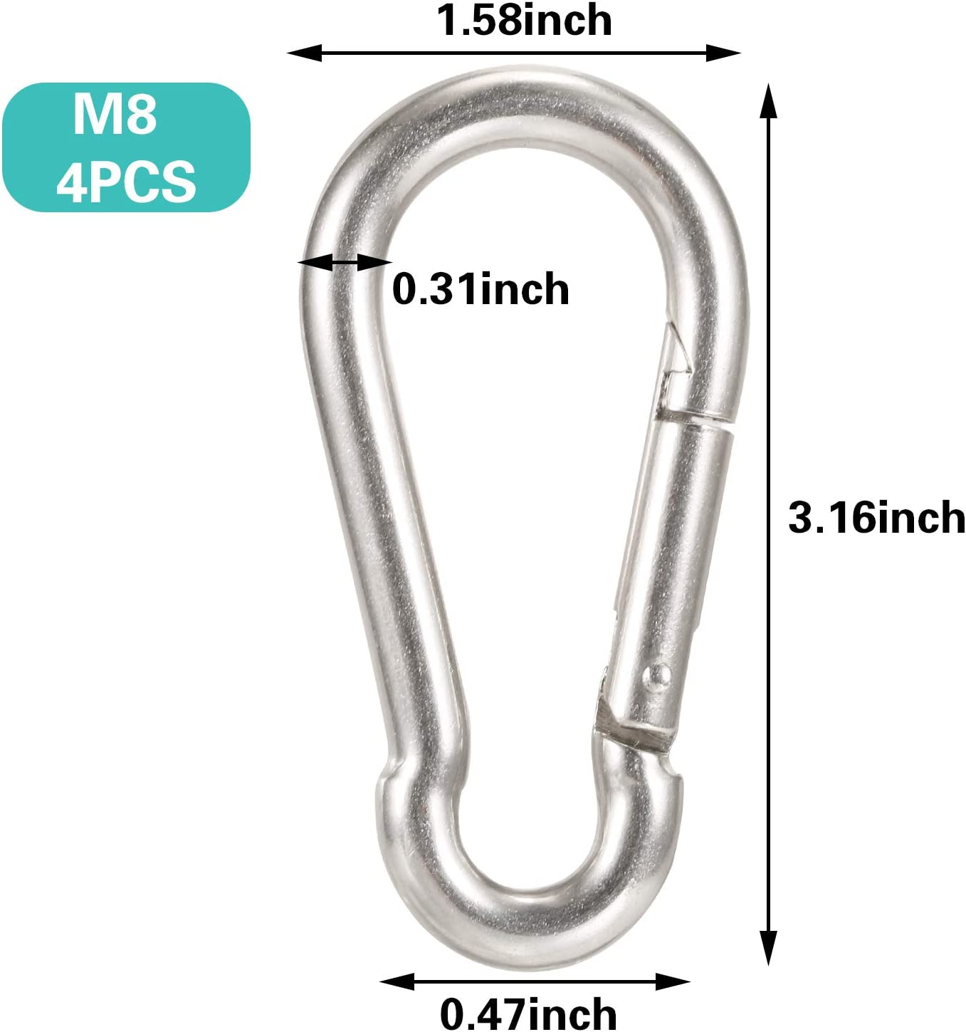 AOOHOOA Spring Snap Hook Carabiner Clips Heavy Duty Stainless Steel D Ring Locking Carabiner for Dog Leash Outdoor Camping Swing Hammock Hiking