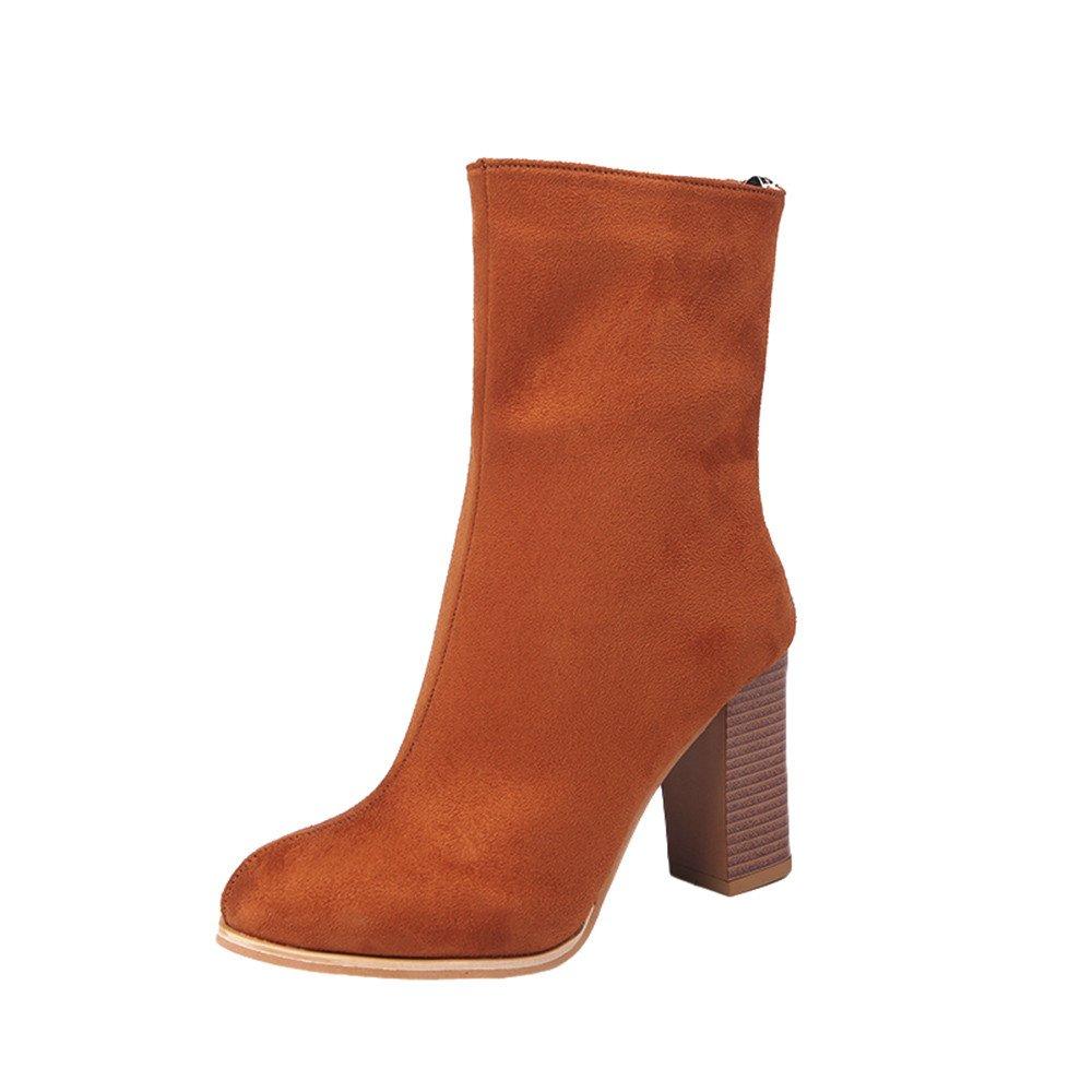 JURTEE Stiefeletten Damen Mit Absatz Schnalle Damen Warme Stiefel Stiefeletten High Heels Schuhe JURTEE-winterstiefel damen