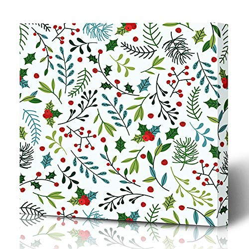 Ahawoso Canvas Prints Wall Art 12x16 Inches Abstract Mistletoe Christmas Pattern Blue Green Spruce Art Holidays Festive Winter Plant Pine Nature Holiday Decor for Living Room Office Bedroom