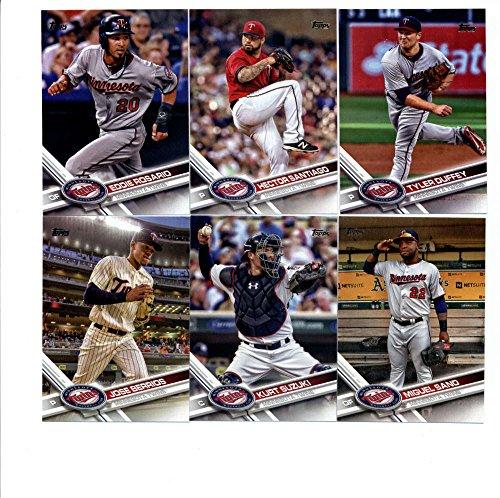 2017 Topps Minnesota Twins Complete Master Team Set of 31 Cards (Series 1, 2, Update) with Jose Berrios(#8), Kurt Suzuki(#27), Miguel Sano(#126), Eddie Rosario(#201), Byron Buxton(#227), Minnesota Twins(#304), Tyler Duffey(#305), Robbie Grossman(#313), Hector Santiago(#336), Phil Hughes(#379), Joe Mauer(#404), Max Kepler(#405), Eduardo Escobar(#407), Danny Santana(#453), Ryan Vogelsong(#491), Brian Dozier(#543), Jason Castro(#554), Ryan Pressly(#568), TRIPLET OF TWINS(#590), plus more