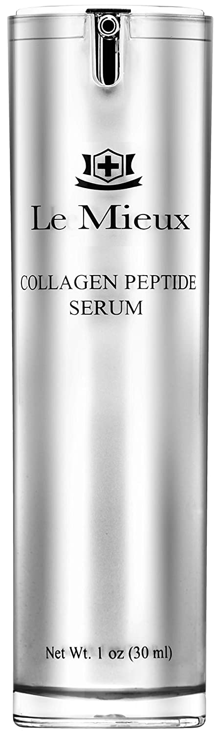 Le Mieux Collagen Peptide Serum - Concentrated, Creamy Serum with Skin Contouring Peptides + Moisturizing Hyaluronic Acid Base, No Parabens or Sulfates (1 oz / 30 ml)