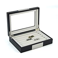 TIMELYBUYS Black Ebony Wood Cufflink Case & Ring Storage Organizer with Stainless Steel Engravable Design Accent Men's…