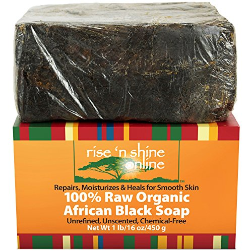 (16 oz) Raw African Black Soap with Coconut Oil and Shea Butter - Body Wash, Shampoo and Face Wash - Helps Clear Dry Skin, Acne, Eczema, Psoriasis - Authentic Organic Homemade Soap Bar from Ghana (Black Soap Cocoa Butter)