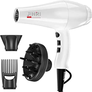 1875W Infrared Professional Salon Hair Dryer, Negative Ionic Blow Dryer for Fast Drying, Light Weight Hair Blow Dryer with Diffuser & Concentrator & Comb (White)