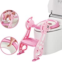 Kidsidol Baby Potty Toilet Seat with Step Potty Stool Ladder with Soft Cushion Sturdy Folding Adjustable Comfortable Anti Slip Mommy's Great Helper for 1 to 7 Years Baby Kids Toddler