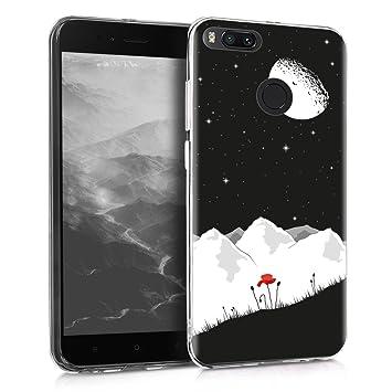 kwmobile Funda para Xiaomi Mi 5X / Mi A1 - Carcasa de [TPU] para móvil y diseño de Amapola y Cielo en [Blanco/Rojo/Negro]