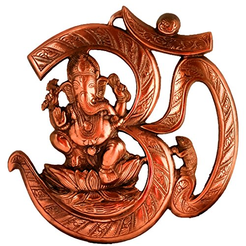 Plaque Housewarming (Om Ganesh 10 Inches Wall Door Hanging with Copper Finish for Prosperity and Good Luck Perfect Housewarming Gift)