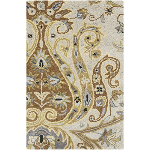 - Surya Ancient Treasures A-165 Classic Hand Tufted 100% Semi-Worsted New Zealand Oatmeal 8' x 11' Paisleys and Damasks Area Rug