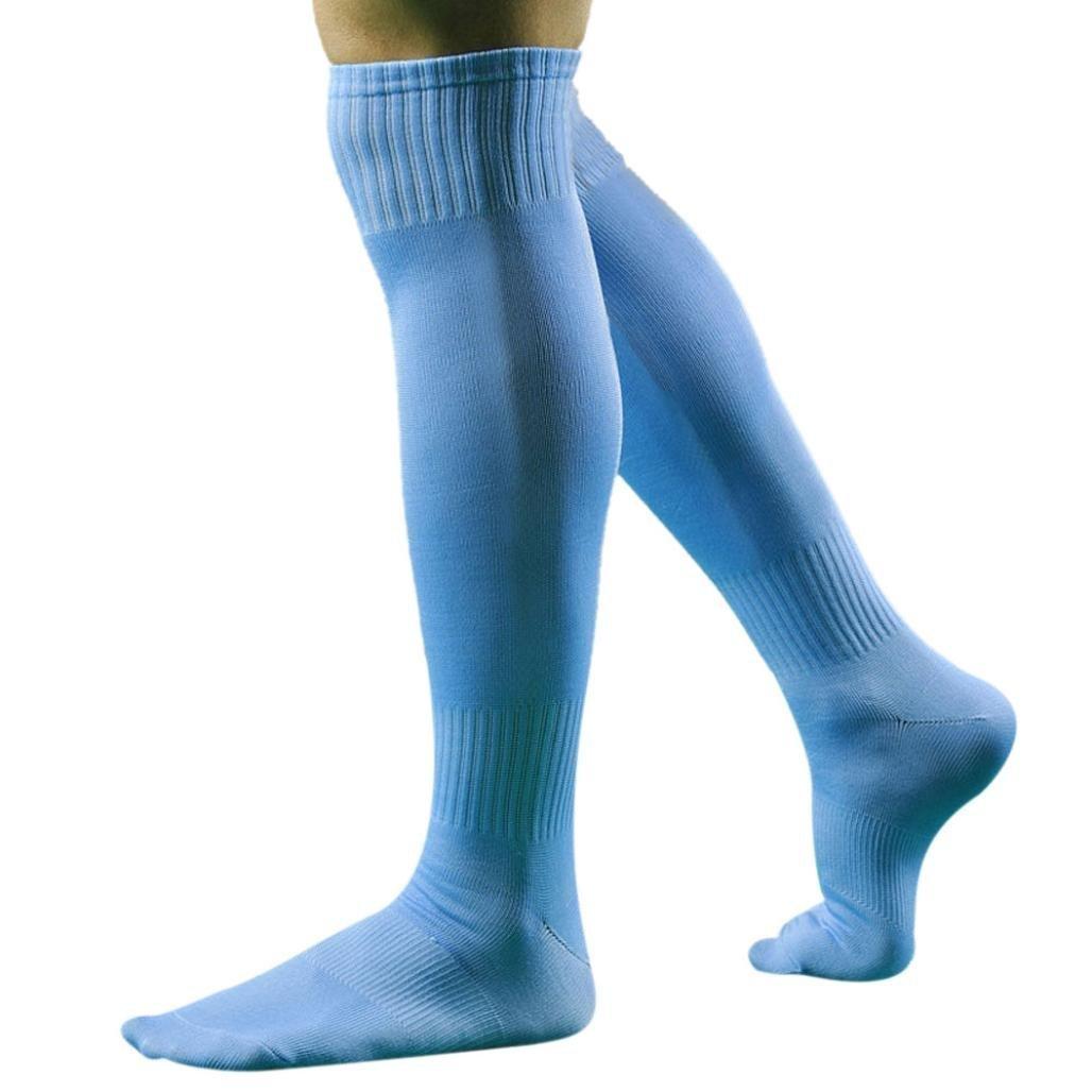 PolytreeメンズSport Football Soccerロングソックスover knee high sock野球Hockey B01H572YAO スカイブルー スカイブルー