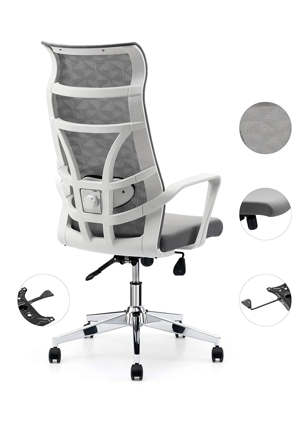 Allguest Office Chair Home Computer Chair White High Back Armrest Ergonomic Adjustable Lumbar Support Mesh Nylon AG-876FH-W
