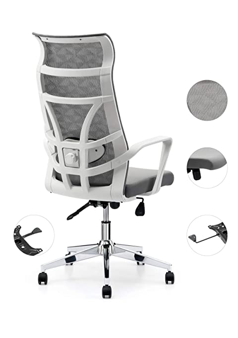 Strange Allguest Office Chair Home Computer Chair White High Back Armrest Ergonomic Adjustable Lumbar Support Mesh Nylon Ag 876Fh W Onthecornerstone Fun Painted Chair Ideas Images Onthecornerstoneorg
