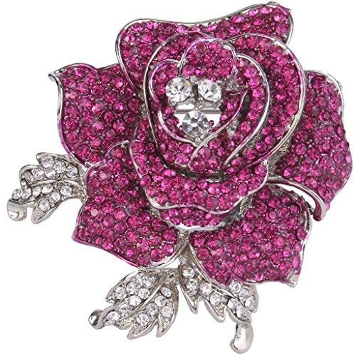EVER FAITH Women's Austrian Crystal Blooming Beautiful Rose Flower Brooch Fuchsia Silver-Tone
