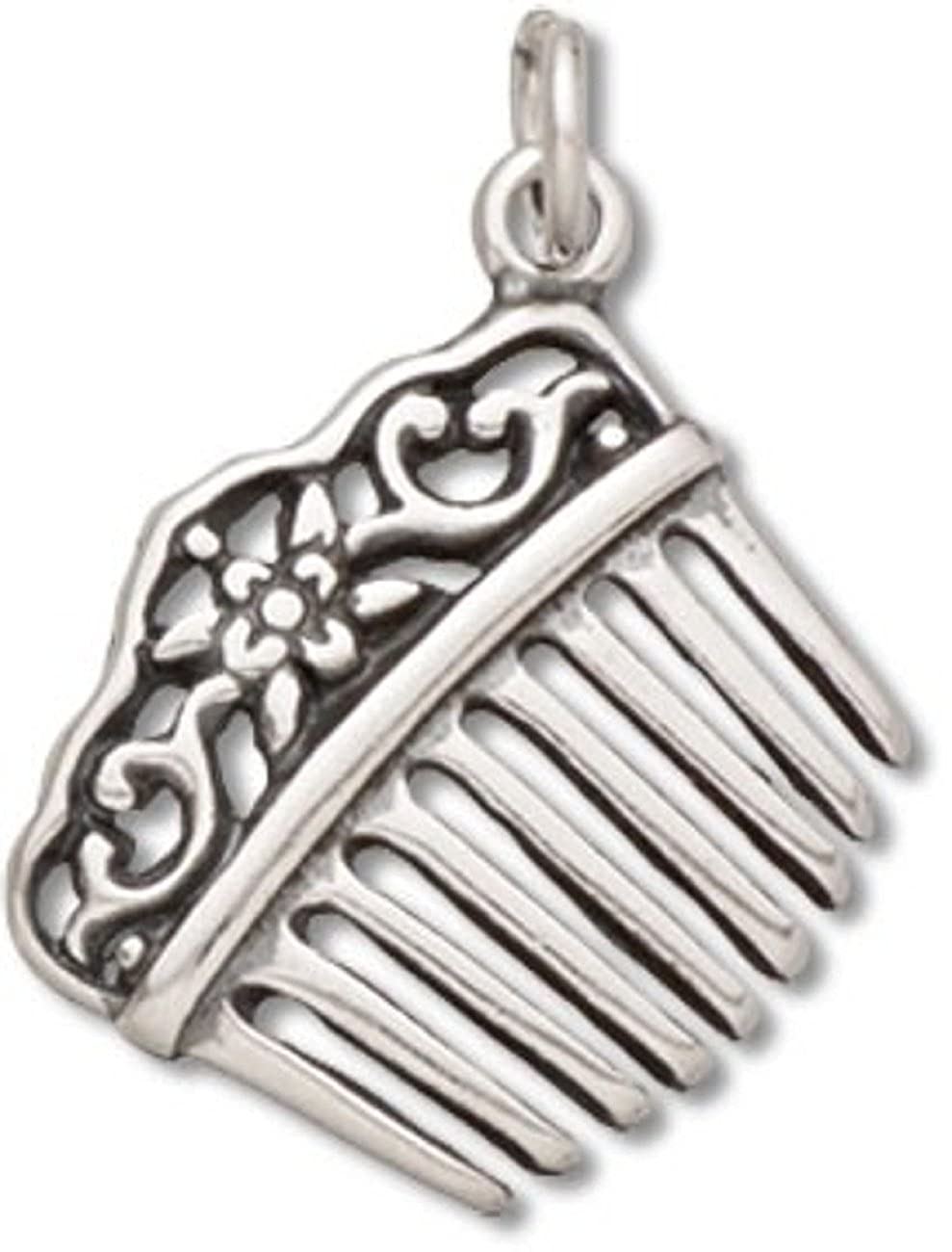 Sterling Silver Girls .8mm Box Chain 3D Victorian Style Hair Comb Pendant Necklace