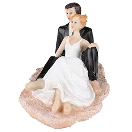c90d5dcc16 Amazon.com: Little Chair Sweet Beach Wedding Cake Topper Bride and ...