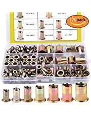 170pcs Mixed Zinc Plated Carbon Steel Rivet Nut Threaded Insert Nutsert M3 4 5 6 8 10 12 Packaged by Plastic Case (170pcs)