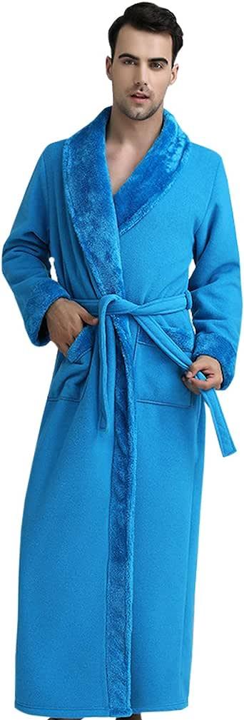 Elonglin Bathrobe Women Men Flannel Fleece Full Length Dressing Gowns Thickened Housecoat Sleepwear Large Size Nightwear Dressing Gown Robe with Pockets