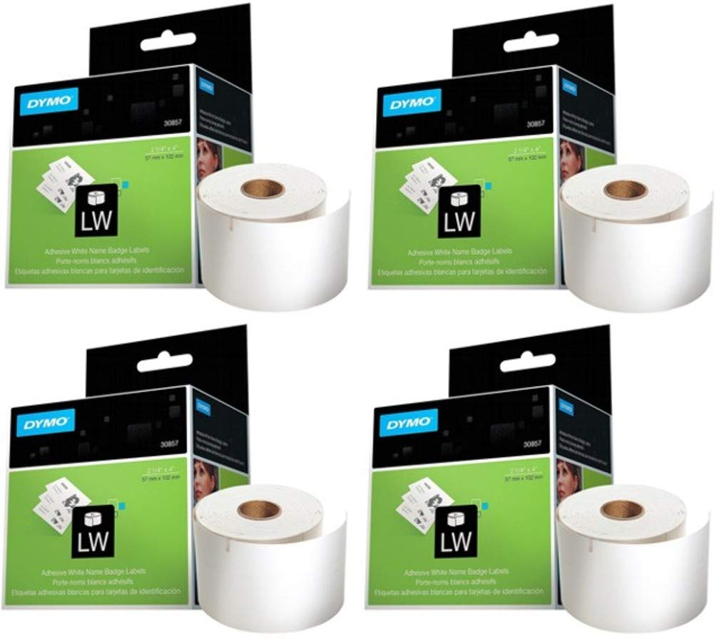 DYMO 30857 LW Name Badge Labels (Pack of 4) for use with LabelWriter 450, LabelWriter 450 Turbo and LabelWriter 450 Twin Turbo Address Labels; Four Rolls, Each with 250 2-1/4'' x 4'' Labels
