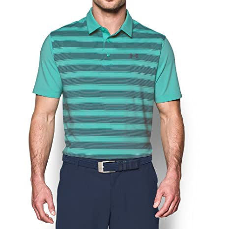 Under Armour Mens Flagstick Stripe Polo, Mint (343)/Graphite ...