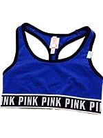 Victoria's Secret Women's PINK Logo Racerback Bra Cobalt Blue