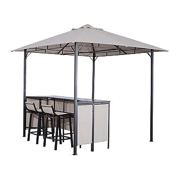 Outdoor Patio Grill Gazebo Amazoncom Outsunny 8 X 8 Outdoor Covered Bar  Gazebo Set W