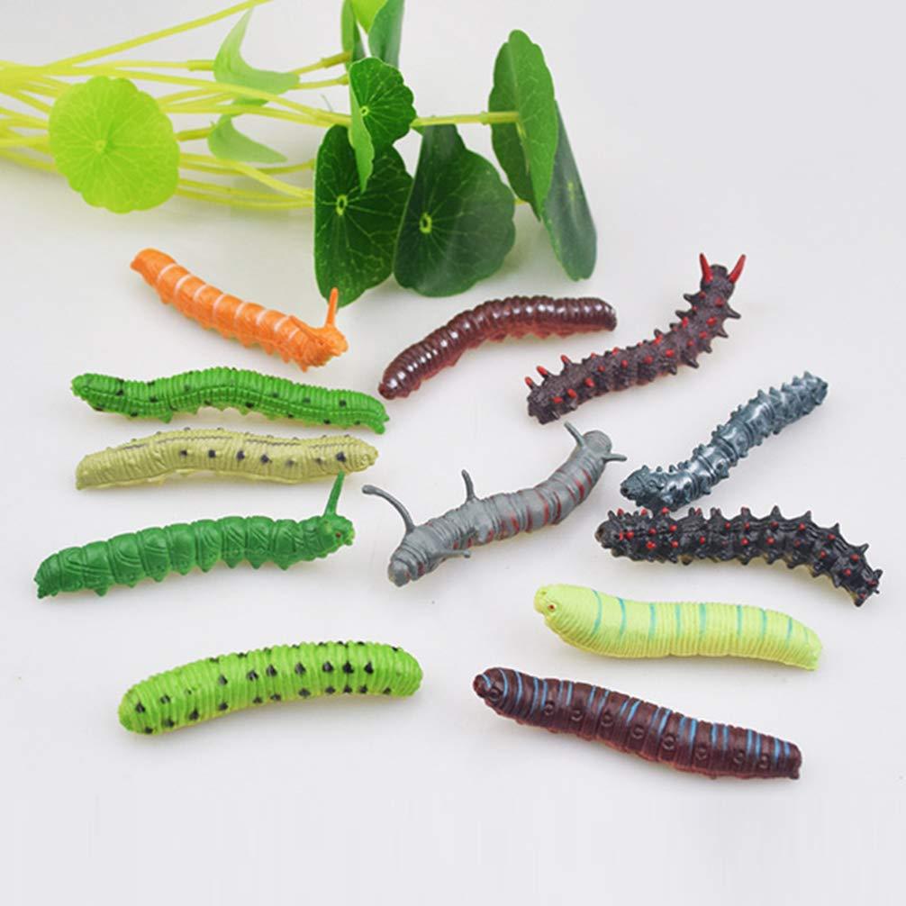 colore casuale Amosfun 12 pezzi di plastica bruco giocattoli figure di animali falso bruco halloween scherzo scherzo giocattolo bomboniere