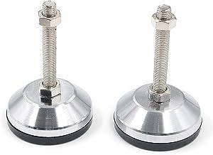Antrader Heavy Duty M12x100mm Leveling Screw Leg Carbon Steel Shockproof Adjustable Leg Leveler- Base Diameter 3.1-Inch for Workbench, Machine, Cabinet & Heavy Duty Applications 2-Pack, Black