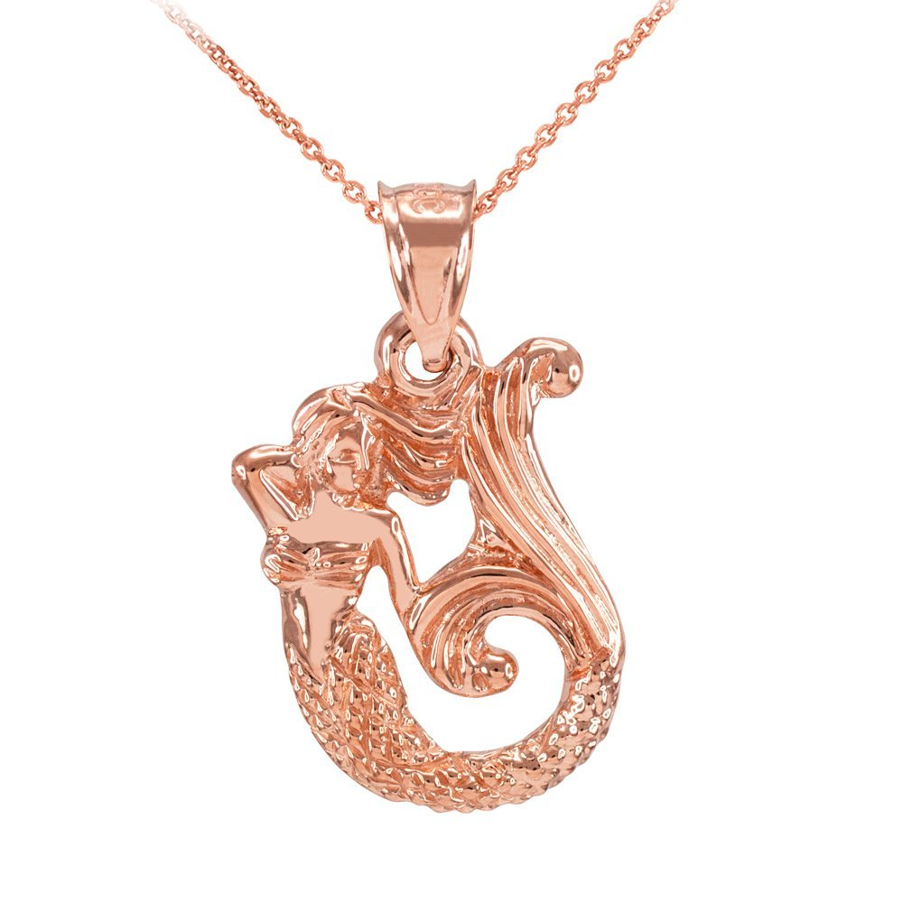 Textured 10k Rose Gold Fairytale Mermaid Pendant Necklace, 16''