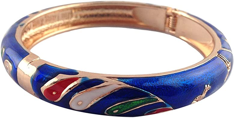 UJOY Hollow Cloisonne Bracelet Jewelry Handcraft Cuff Gold Flower Enamel Indian Style Bangle for Girl Womens Gift