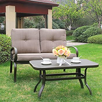 this item cloud mountain 2 pc outdoor loveseat furniture bistro set garden patio metal coffee table bench sofa with cushions gradient brown