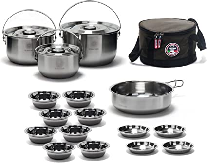 Portable Camping Picnic Cookware Stainless Steel Cooking Hiking Bowl Pot PaDS
