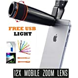 Ceuta Retails Mobile Telescope Blur Background Lens kit for All Camera with 12x Zoom for Android and iOS Devices