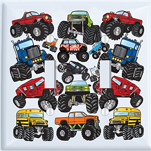 Monster Truck Double Toggle Light Switch Plates Covers / Monster Truck Wall Decor (Monster Truck Double Toogle)