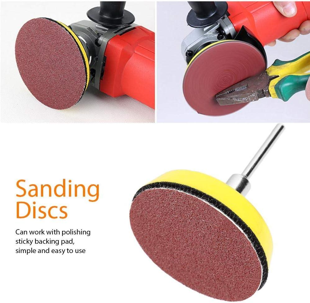 60pezzi disco abrasivo da 2 pollici a forma rotonda granulato abrasivo al carburo di silicio grane rosse 100 240 600 800 1000 2000 carte a sabbia con tampone di supporto appiccicoso,asta