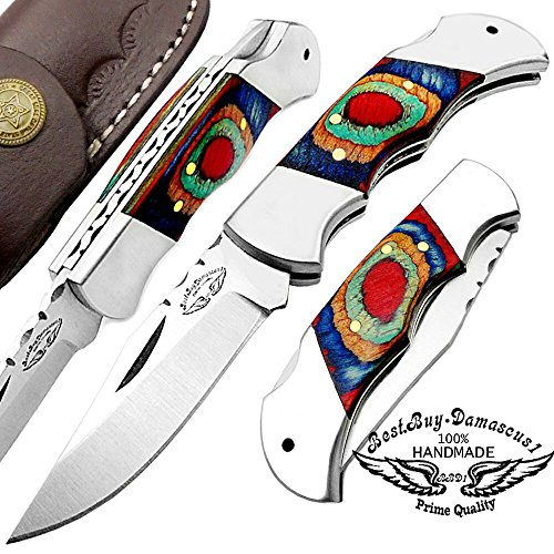Best.Buy.Damascus1 Multi Color Wood 5.5'' Custom Handmade Double Bolster Stainless Steel Folding Pocket Knife Back Lock 100% Prime Quality Come with Leather Sheath
