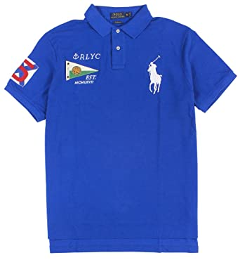 Polo Ralph Lauren Men\u0026#39;s Custom-Fit Big Pony Nautical Polo, Pacific Royal, Small