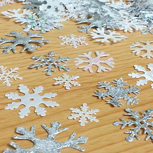 CraftbuddyUS 200 X Mixed Sparkly Fabric Christmas Snowflake Motifs Toppers Embellishments