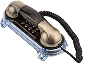 Antique Retro Corded Telephone Fashionable Corded Phone Vintage Telephone Landline Telephone with Bottom Blue Backlight Incoming-Call Flashlight for Home Hotel(Bronze)