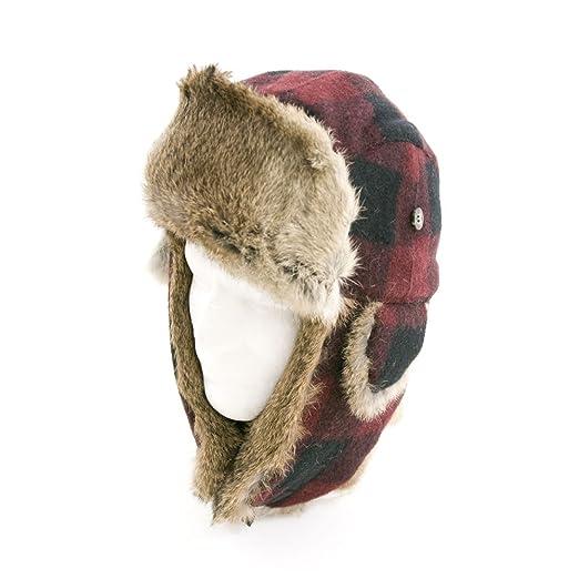 3113b503ffc Amazon.com   Mad Bomber Original Red Plaid Wool Aviator Pilot Hat Real  Rabbit Fur Trapper Hunting Cap