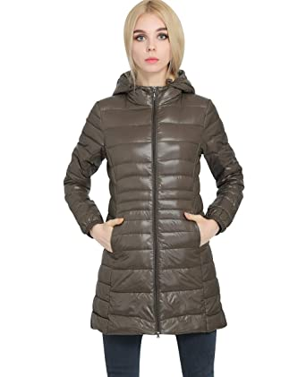 b9aaa2653 Lightweight Long Down Jacket Women with Hood Womens Down Coats Women's  Packable Down Jacket Down Filled Coat Stand Collar Quilted Padded Hooded  Puffer ...