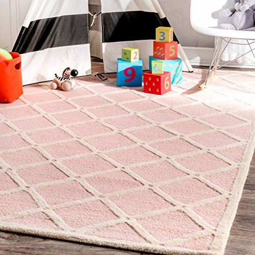 nuLOOM Handmade Knotted Lattice Trellis Area Rugs, 3' x 5', Pink by nuLOOM