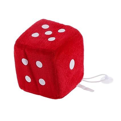 Juguetes Peluches Colgantes Forma de Dados 6 caras Ventana Percha Coche 4 Pulgadas - Rojo