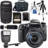 Canon EOS Rebel T6s DSLR Camera with 18-135mm Lens + Canon EF 75-300mm Lens + Canon 100ES EOS Shoulder Bag Bundle