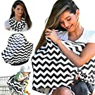 Nursing Cover Breastfeeding Scarf, Baby Car Seat Canopy, Shopping Cart, Stroller, Carseat Stretchy Covers Unisex Girls and Boys | Black/White Chevron